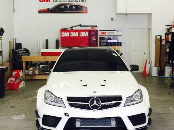 C-63-Black-Series-Getting-Complete-Front-end-Protected-With-Clear-Paint-Protection-Film
